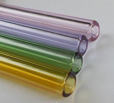 "9mm 33 COE Boro 6"" Glass Tubes, Pyrex, 4 Pieces, Set of Four Colors"