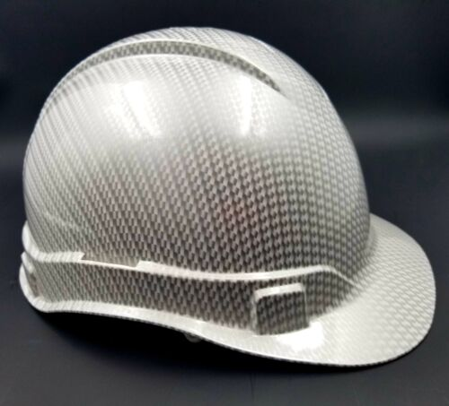 Hard Hat custom hydro dipped , OSHA approved WHITE METALLIC CARBON FIBER NEW 1