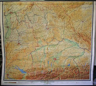 Schulwandkarte map Bayern Bavaria bayrisch Alpen Franken top 1zu200T 220x197cm