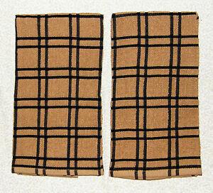 2 Black PLAID Brown Windowpane Terry Cloth Kitchen Towels 16