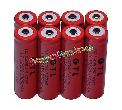 8x 3.7V 18650 GTL Li-ion 5300mAh Red Rechargeable Battery for LED Torch USA on Rummage