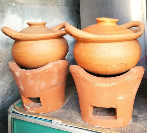 Antique Handmade Thai Earthware Charcoal Cooking Pot, Lid and Stove 3 Piece Set