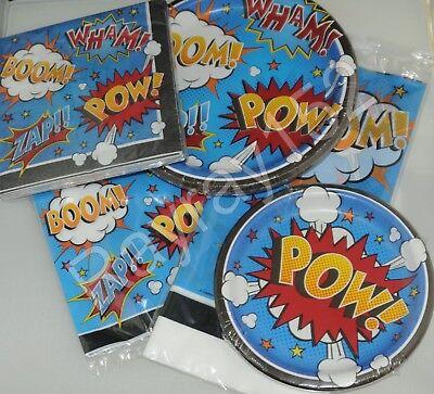 Superhero Slogans slogan Hero Birthday Party Table cover plates bags napkins