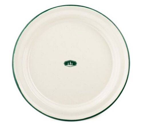 GSI Outdoors Dinner Plate Cream Green Rim Enamelware Camp Plate Set of 4 - 2nds