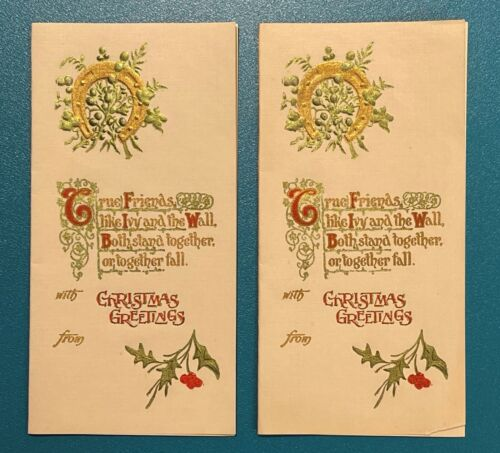 Lovely Antique Holly Embossed Christmas Gift Present Tags Cards Horseshoe