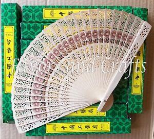12 Chinese Hand Fans Sandalwood Wedding Folding Favors Bridal Shower Wood Lot