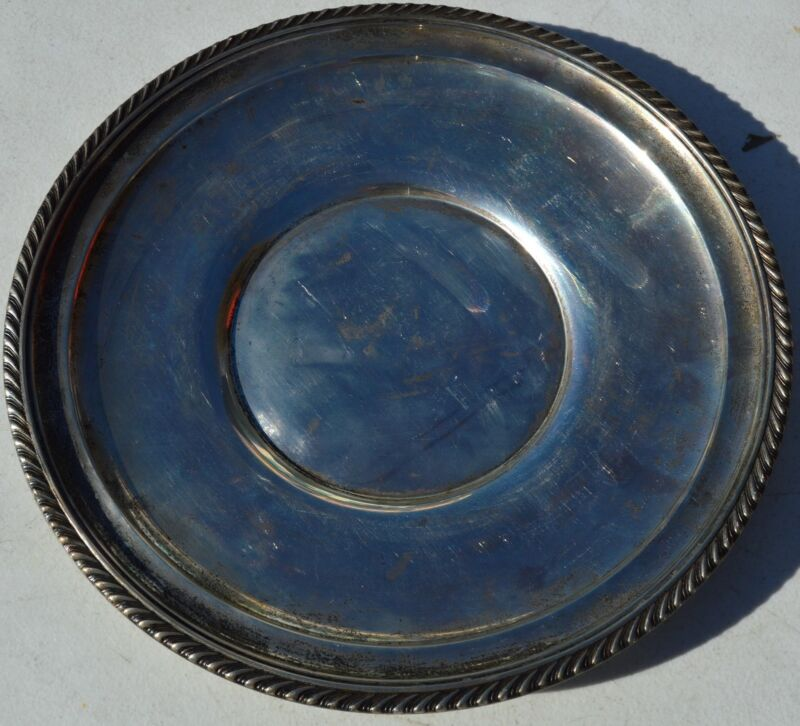 """ESTATE GORHAM STERLING SILVER PLATE or TRAY-323-9.75"""" NO MONO-UNDERPLATE"""
