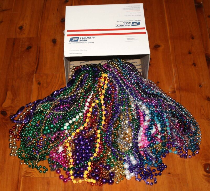 10 POUND Box of New Orleans MARDI GRAS BEADS Large Necklaces Various Colors NICE