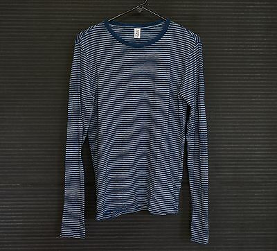 NEW Save Khaki United Extra Small XS Long Sleeve Indigo Beach Stripe Tee T Shirt