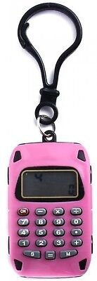 Portable Mini Calculator Accessory Keychain 8 Digit LCD Display Plastic Pink NEW