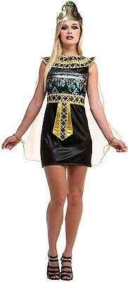 Damen Sexy Pailletten Ägyptische Kleopatra Kostüm Kleid Outfit 10-12-14