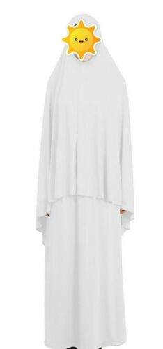 Solid White Two Piece Muslim Women Prayer Dress Isdal Pray Outfit Cover Clothing