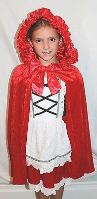 Rotkäppchen Boutique Deluxe Kinder-Kostüm Kleid Gerüscht Umhang (Rotkäppchen Deluxe Kostüm)