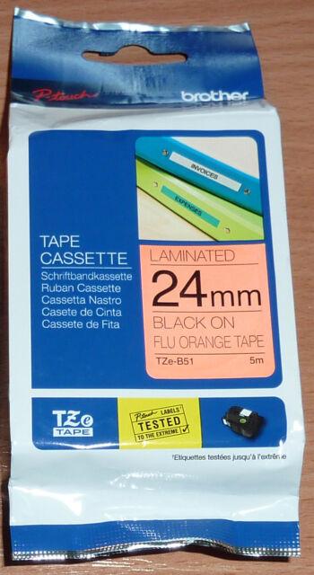 Brother P-touch tape TZe-B51 schwarz auf flu.orange 24mm TZ-B51 neon ORIGINAL