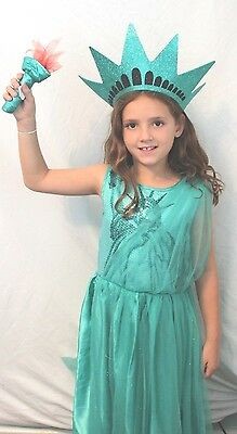 Statue of Liberty Lady Boutique Complete Halloween Costume Torch Kids NYC NEW