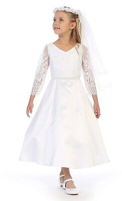 White Flower Girls Lace Satin First Communion Dress 3/4 Sleeves Wedding Party
