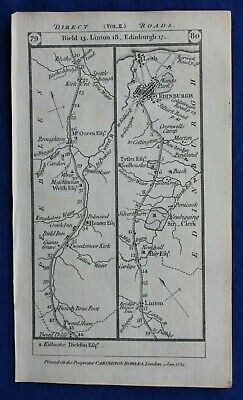Original antique road map LINTON, EDINBURGH, STILTON, FOLKINGHAM, Paterson, 1785