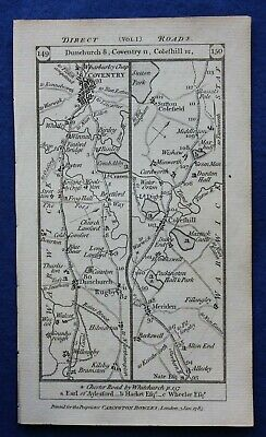 Original antique road map WARWICKSHIRE, STAFFORDSHIRE, COVENTRY, Paterson 1785