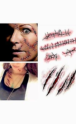 5 X Scar Bloody Tattoos,Fake Blood / Scrap Tattoos for Halloween Costumes - Fake Blood For Halloween Costume