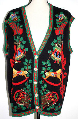 Cambridge Country Store Womens XL Black Sweater Vest Ugly Christmas - Ugly Sweater Store