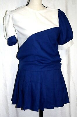 Juniors Size Small Blue White Skirt Blouse Cheerleader Outfit Halloween Costume
