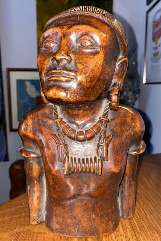Antique Hand Carved Wood Tribe Bust Heavy