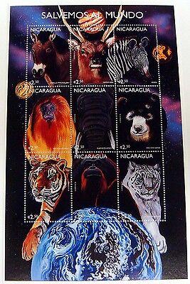 NICARAGUA WILD ANIMALS STAMPS SHEET ZEBRA TIGER ELEPHANT BEAR MONKEY DEER