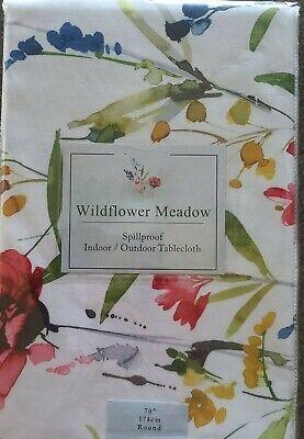 """Benson Mills ~ Wild Flower ~ Indoor/Outdoor  ~ Spillproof Tablecloth ~ 70"""" Round"""