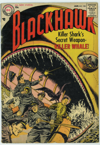 BLACKHAWK #108 4.0 FIRST DC ISSUE OFF-WHITE TO TAN PAGES 1957