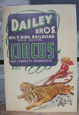 DAILEY BROS. BIG 5 RING RAILROAD WILD ANIMAL CIRCUS VINTAGE POSTER (5 Ring Wild Animal)