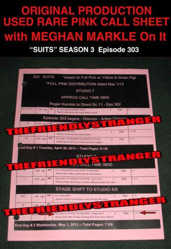"Rare ""SUITS"" SEASON 3 ENTIRE Episode 303 ORIGINAL PINK CALL SHEET Meghan Markle"