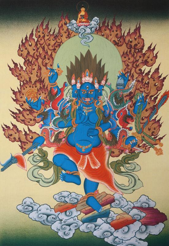 """16""""BLESSED TIBETAN THANGKA:CLEANSING DEITY VIDYARAJA UCCHUSMA Burning Impurity ="""