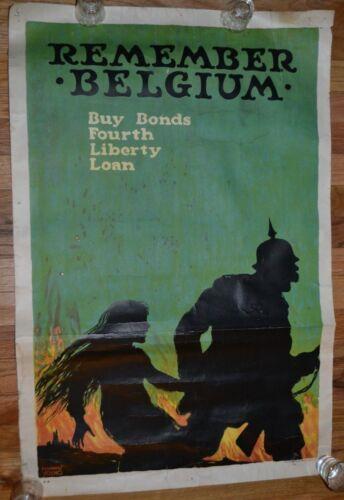 Original WW1 Era 1918 Remember Belgium 4th Liberty Loan Bonds Propaganda Poster