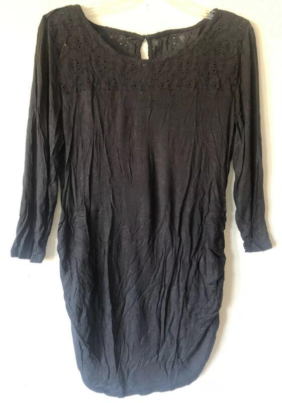 Motherhood Maternity Size L Black L/S Lace Yoke Tunic Blouse Rayon Stretch Top