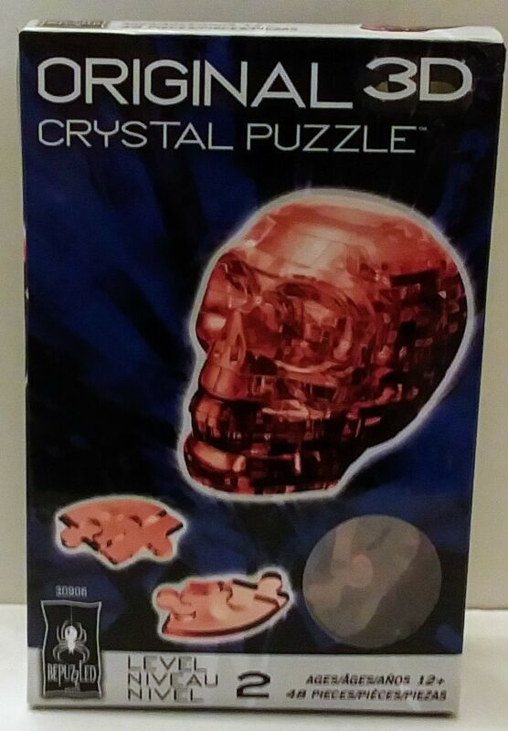 BePuzzled Original 3D Crystal Jigsaw Puzzle - Skull DIY Assembly (Red)