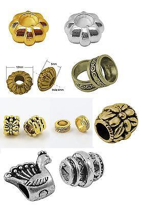 Großlochperlen verschiedene Formen, Farben, Größen und Mengen gold silber NEU