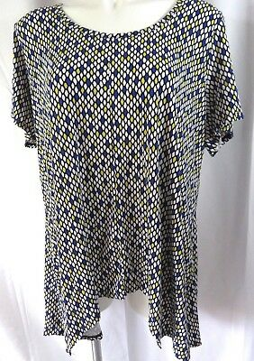 Premise Studio Womens Plus sz 2X Top Blue Honeycomb Print S/S Scoop Neck Stretch Honeycomb Scoop Neck