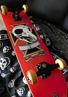 "Vintage 1990s? Skull 2 Skateboard Complete Tony Hawk Birdhouse 31"" Red!"