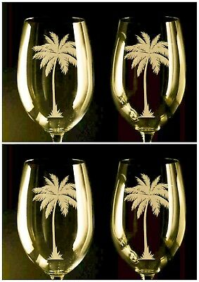 palm tree wine glasses, (set of 4) 12oz, etched Handcrafted Palm Tree Wine