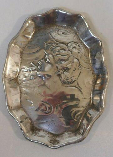 Rare Art Nouveau Unger Bros. Sterling Pin Tray / Ashtray - Woman Smoking Design