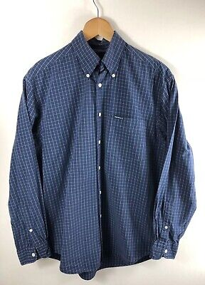 Mens Vintage NAUTICA Shirt Size Small Navy Blue Check Casuals 90's Retro