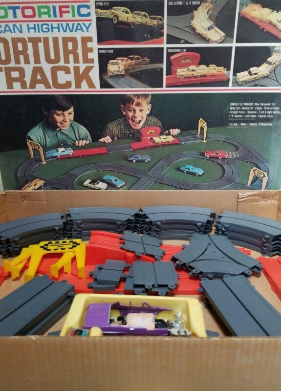 1966 Ideal Motorific Alcan Highway Torture Track Slot Car Race Set Near Complete