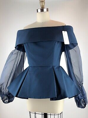 Elizabeth Kennedy Off The Shoulder Blouse Navy Sheer balloon sleeves Size 6