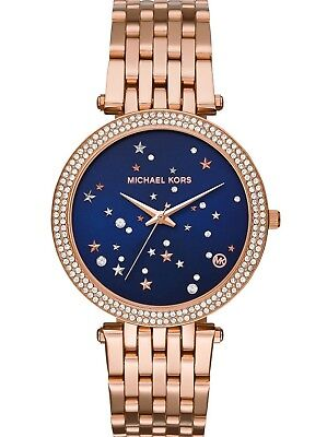New Michael Kors MK3728 Women's Darci Rose Gold Tone Watch Blush Crystal Set