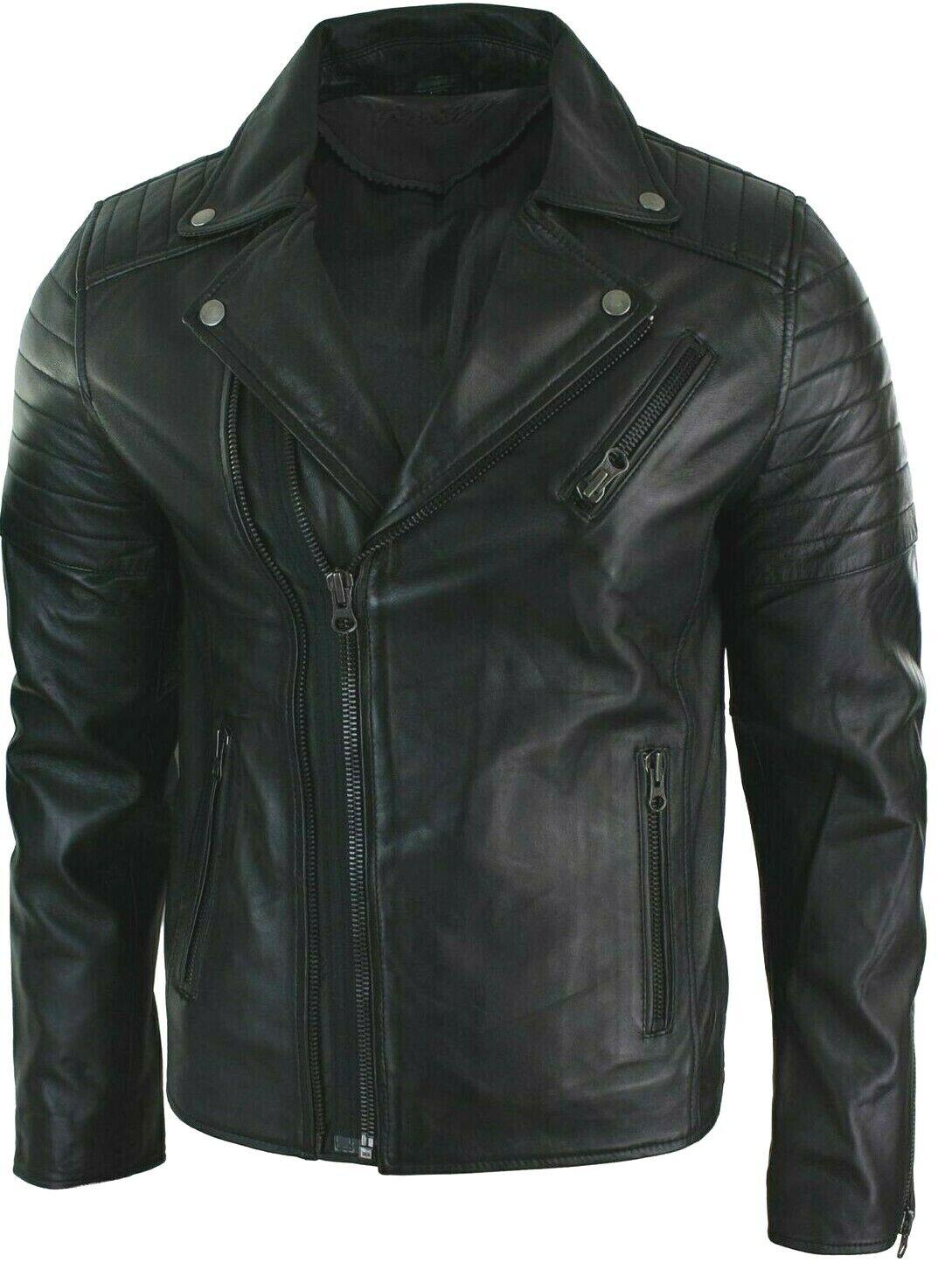 a85e4190113c New Men s Bomber Biker Vintage Black Genuine Leather Slim fi