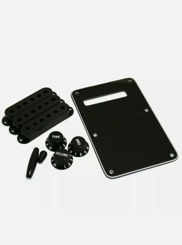 Fender Black Strat Accessory Kit Knobs/Covers/Switch Tip/Back Plate 099-1363-000 - $16.99