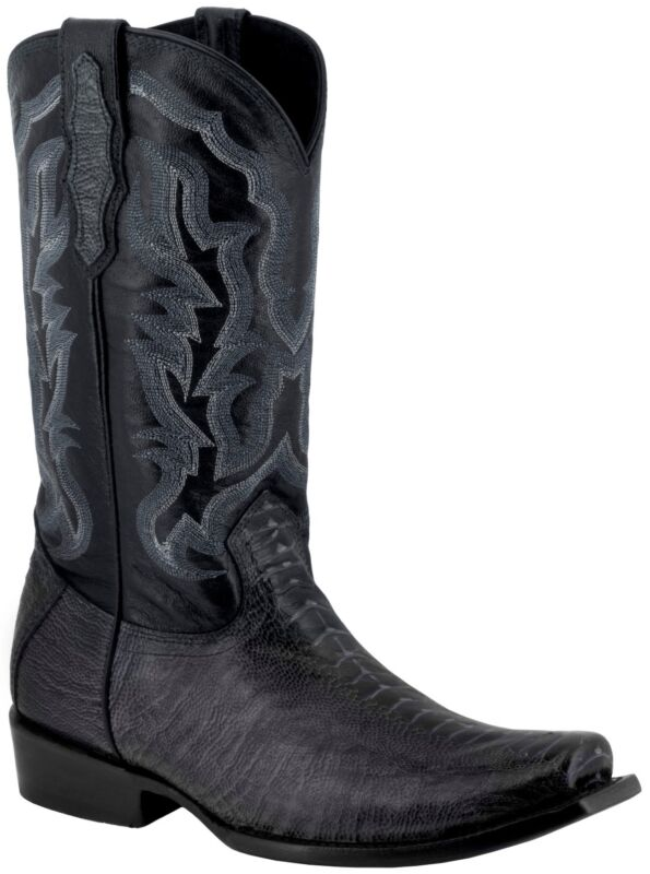 Mens, Black, Ostrich, Foot, Pattern, Leather, Western, Cowboy, Boots, Square, Toe