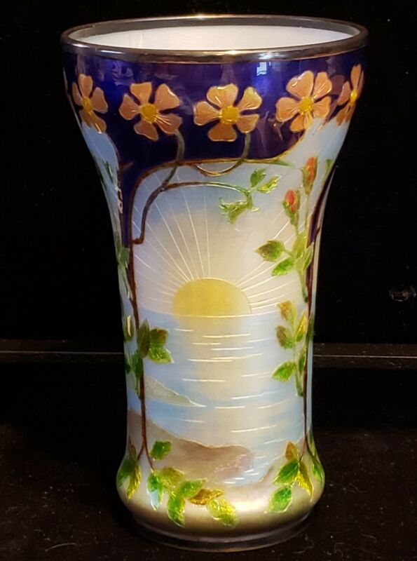 RARE Antique Art NOUVEAU Enamel Sterling Silver Vase FLORAL BEAUTIFUL