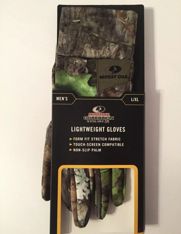 New Mossy Oak Obsession Lightweight Men's Gloves L/XL Form Fit NonSlip Palm NWTF