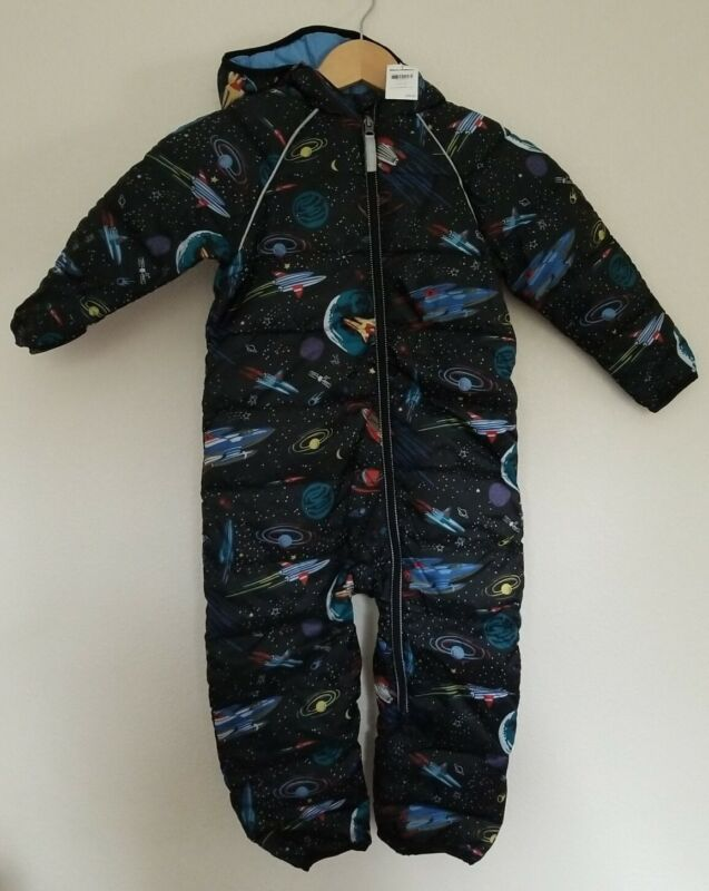 NWT HANNA ANDERSSON LITTLE EXPLORERS SNOWSUIT BLACK SPACE PRINT 80 18-24 M  $98